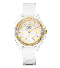 COACH WHITE BOYFRIEND SILICON RUBBER STRAP WATCH