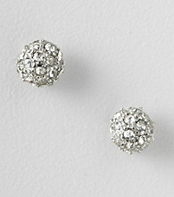 BT-Jeweled Silvertone Pave Post Earrings