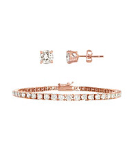 Designs by FMC Rose Gold Plated 7 ct. t.w. Cubic Zirconia Bracelet and Solitaire Earring Set