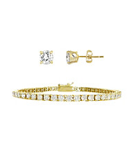 Designs by FMC 18K Gold over Silver Plated 7 ct. t.w. Cubic Zirconia Bracelet and Solitaire Earring Set