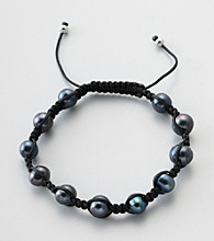 Designs by FMC Freshwater Black Pearl Macrame Adjustable Bracelet, 8MM Beads
