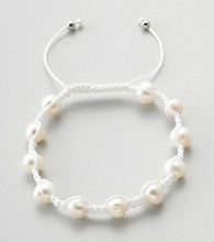 Designs by FMC Freshwater White Pearl Macrame Adjustable Bracelet, 8MM Beads