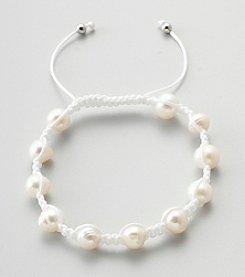 Designs by FMC Freshwater White Pearl Macrame Adjustable Bracelet, 8MM Beads