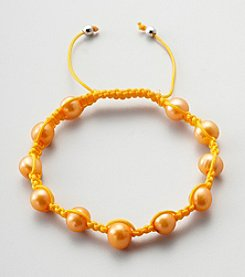 Designs by FMC Freshwater Tangerine Pearl Macrame Adjustable Bracelet, 8MM Beads