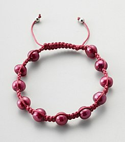 Designs by FMC Freshwater Raspberry Pearl Macrame Adjustable Bracelet, 8MM Beads