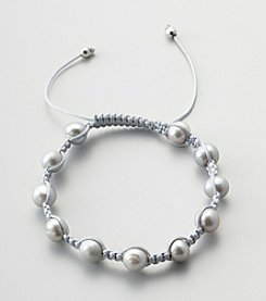 Designs by FMC Freshwater Grey Pearl Macrame Adjustable Bracelet, 8MM Beads