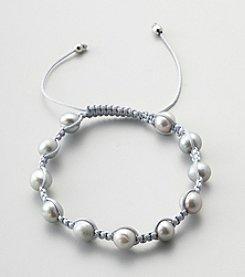 Designs by FMC Freshwater Grey Pearl Macrame Adjustable Bracelet, 8MM Beads