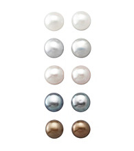Designs by FMC Sterling Silver 5-6MM Freshwater Cultured Pearl Stud Earrings - Set of 5
