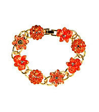 Napier® Boxed Goldtone and Coral Floral Line Bracelet