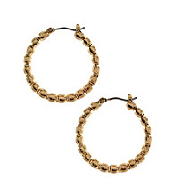 Nine West Vintage America Collection® Goldtone Beaded Hoop Earrings