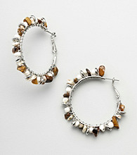 Erica Lyons® Sahara Brown Multi Beaded Hoop Earrings