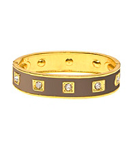 L&J Accessories Brown Enamel Crystal Bangle