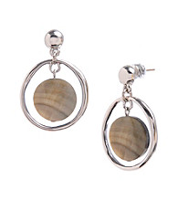 Kenneth Cole® Silvertone Shell Bead Orbital Earrings