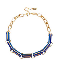 Kenneth Cole® Goldtone and Blue Oval Link Frontal Necklace