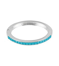 Kenneth Cole® Turquoise and Silvertone Hinged Bangle Bracelet