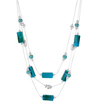 Kenneth Cole® Turquoise and Silvertone Geometric Bead Illusion Necklace