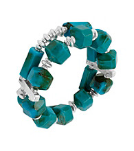 Kenneth Cole® Turquoise and Silvertone Geometric Bead Two Row Stretch Bracelet