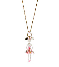 Betsey Johnson® White and Goldtone Lace Skull Girl Pendant Long Necklace