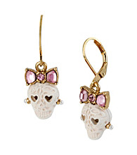 Betsey Johnson® White and Goldtone Lace Skull Drop Earrings