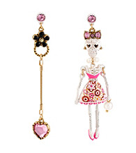 Betsey Johnson® White and Goldtone Lace Skull Girl Mismatch Earrings