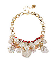 Betsey Johnson® White and Goldtone Lace Skull & Heart Frontal Necklace