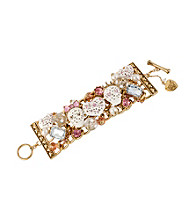 Betsey Johnson® White and Goldtone Lace Skull & Heart Wide Toggle Bracelet