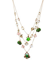 Betsey Johnson® Goldtone Frog Basket Multi Charm Illusion Necklace