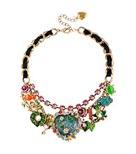 Betsey Johnson® Goldtone Fish Pond Heart Multi Charm Frontal Necklace