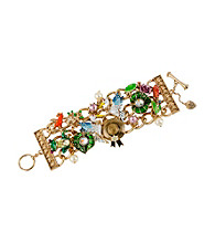 Betsey Johnson® Goldtone Hat and Pelican Multi Charm Width Toggle Bracelet