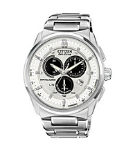 Citizen® Silvertone and White Men's Eco-Drive Watch