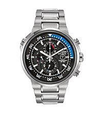 Citizen® Silvertone and Blue Men's Endeavor Eco-Drive Watch