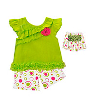Baby Essentials® Baby Girls' Lime 2-pc. Dot Ruffle Shorts Set