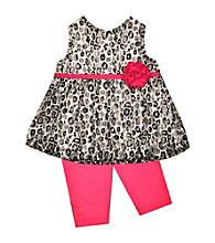 Baby Essentials® Baby Girls' Black/Pink 2-pc. Leopard Lace Capri Set