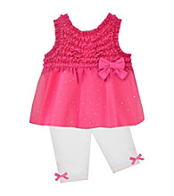 Baby Essentials® Baby Girls' Pink/White 2-pc. Ruffle Capri Set