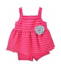 Baby Essentials® Baby Girls' Pink 2-pc. Ruffle Bike Shorts Set