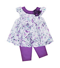 Baby Essentials® Baby Girls' Purple 2-pc. Floral Capri Set