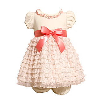 Ruffle Dress on Product  Bonnie Jean   Baby Girls  Ivory Coral Ruffle Tiered Dress