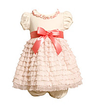 Bonnie Jean® Baby Girls' Ivory/Coral Ruffle Tiered Dress