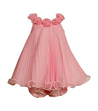 Bonnie Jean® Baby Girls' Pink Crystal Pleated Dot Dress