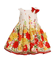 Bonnie Jean® Baby Girls' Orange Floral Poplin Dress
