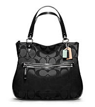 COACH POPPY SIGNATURE SATEEN HALLIE EW TOTE