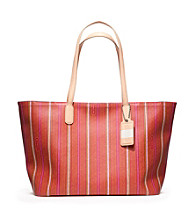 COACH LEGACY WEEKEND TICKING STRIPE PVC ZIP TOP TOTE