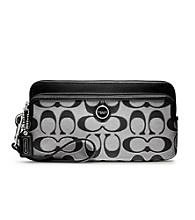 COACH POPPY SIGNATURE SATEEN METALLIC DOUBLE ZIP WALLET