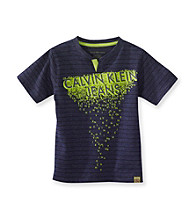 Calvin Klein Jeans® Boys' 8-20 Navy Short Sleeve Dripped Tee