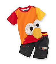 Sesame Street® Boys' 2T-4T Orange 2-pc. Elmo Face Shorts Set