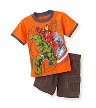 Marvel® Boys' 2T-4T Orange 2-pc. Avengers Shorts Set