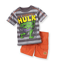 Marvel® Boys' 2T-4T Grey/Orange 2-pc. Hulk Shorts Set