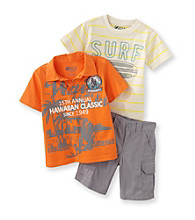Nannette® Boys' 2T-7 Orange/Yellow 3-pc. Surf Polo and Shorts Set