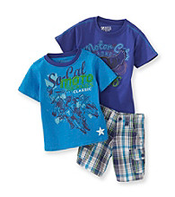 Nannette® Boys' 2T-7 Blue/Purple 3-pc. Moto Cross Shorts Set