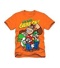 Super Mario Bros. Boys' 4-7 Orange Short Sleeve Game On Tee